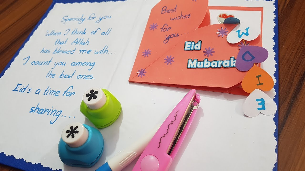 easy  simple beautiful eid card diy eid  how to make