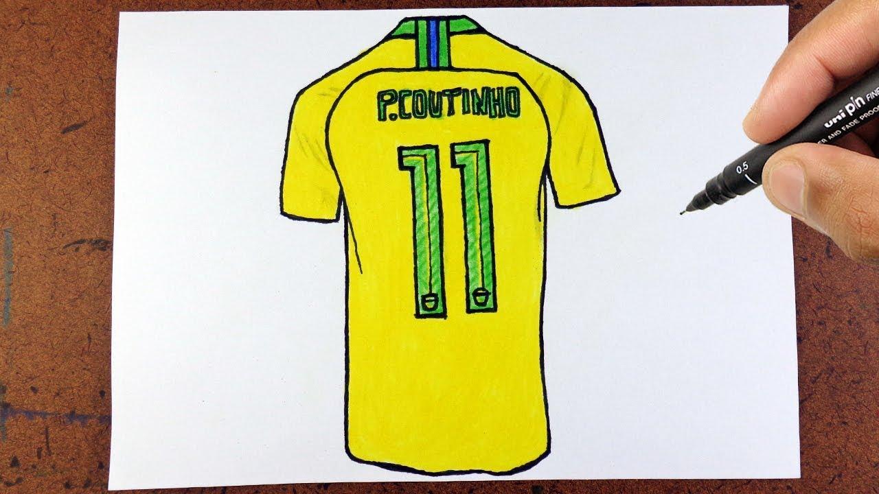 Desenho De Camisa: CAMISA 11 Philippe Coutinho VAMOS DESENHAR SELEÇÃO