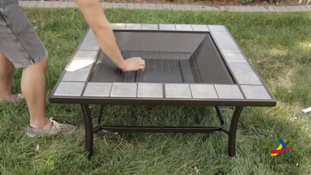 Aosom outsunny square outdoor metal fire pit stove table youtube