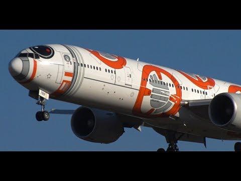 ✈✈ STAR WARS BB-8 ANA JET(JA789A) 全日空 (All Nippon Airways)Landing Narita RWY34L成田空港! ひこうきの丘