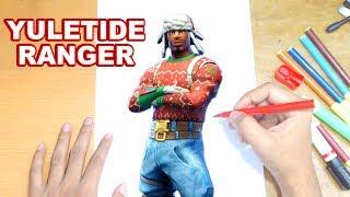 FORTNITE Drawing YULETIDE RANGER - How to Draw Christmas Skin Tutorial - Fortnite Saison 7