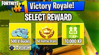EARN V-BUCKS for GETTING a VICTORY ROYALE in FORTNITE - CHOOSE a REWARD for WINNING a FORTNITE GAME!