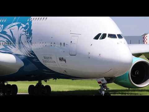 Airshow Paris 2019 Le Bourget incredible A380  22 june display in flight from take off to landing