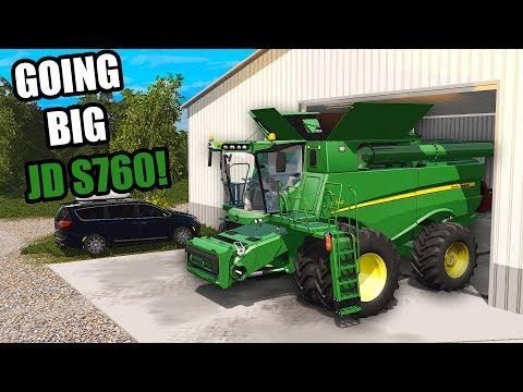 BIGGER FIELDS MEANS BIGGER COMBINE! 2018 JD S760 | FARMING SIMULATOR 2017