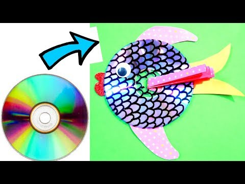 MAKE FISH FROM OLD CD | FISH CRAFT | BEST OUT OF WASTE COMPETITION IN SCHOOL | CD CRAFT | RECYCLE CD