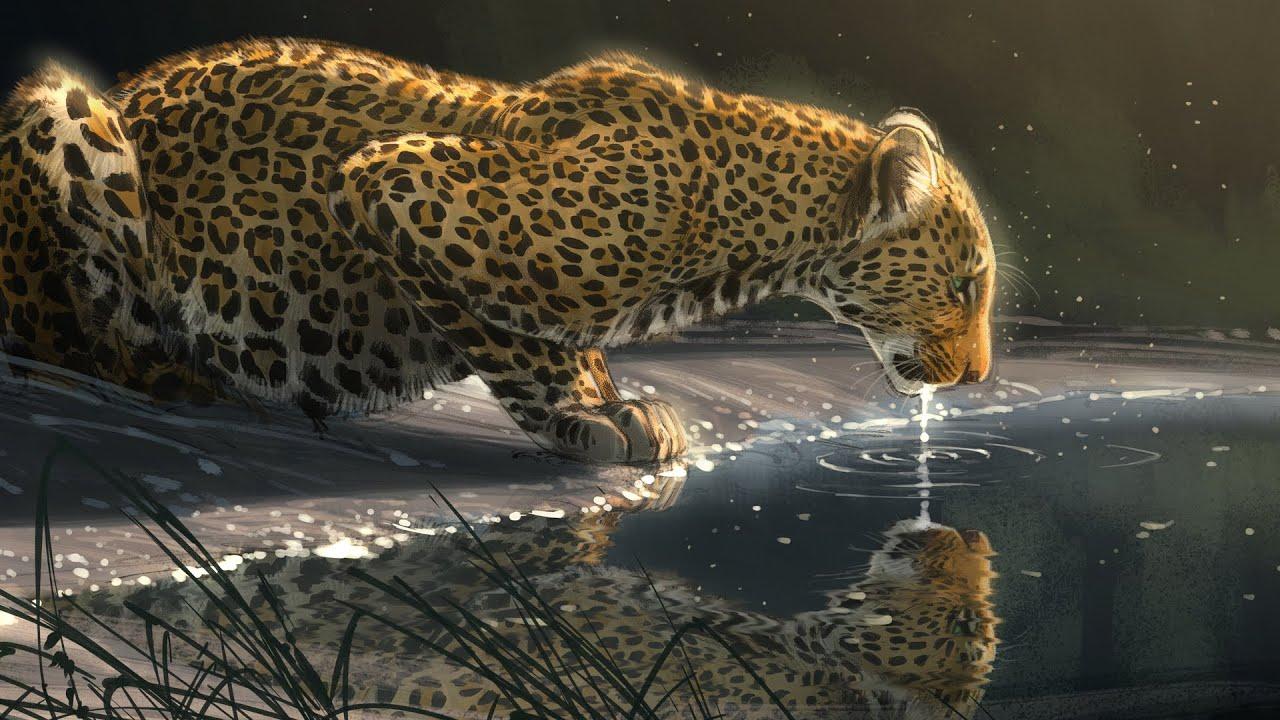 "Digital Leopard Art Wallpapers: Photoshop ""Just A Sip"" Leopard"