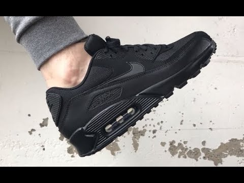 newest 002de 068c4 All Black Nike Air Max 90 ON FEET Sneakersenzo