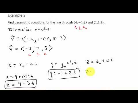 Finding Parametric Equations Passing Through Two Points