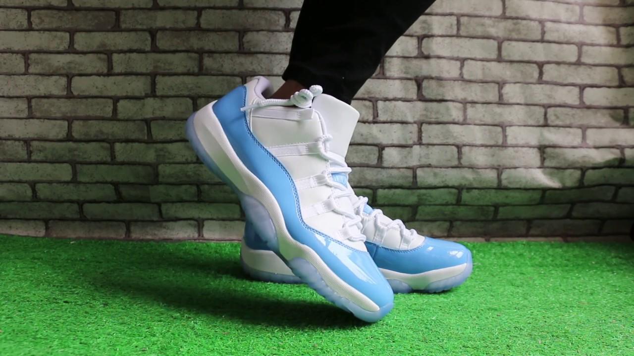 "quality design c0cf6 05103 Air Jordan 11 Low ""Columbia"" On Feet"
