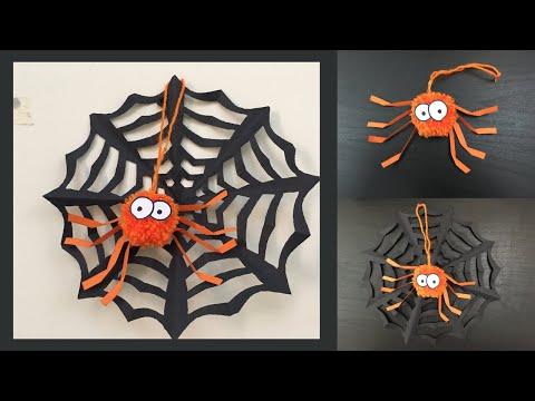 Paper Spider Web And Spider [DIY] Halloween Crafts For Kids/ Paper Crafts For School/ Paper Craft
