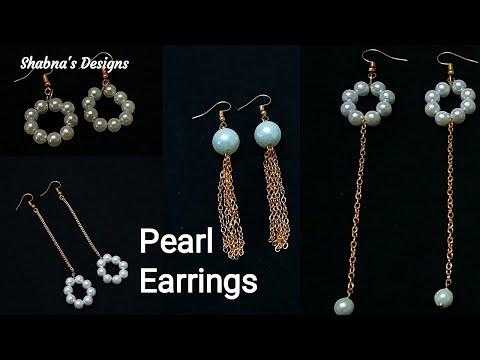 4 DIY Pearl Earrings / Jewellery Making Tutorial / How To Make Earrings At Home / Shabna's Designs