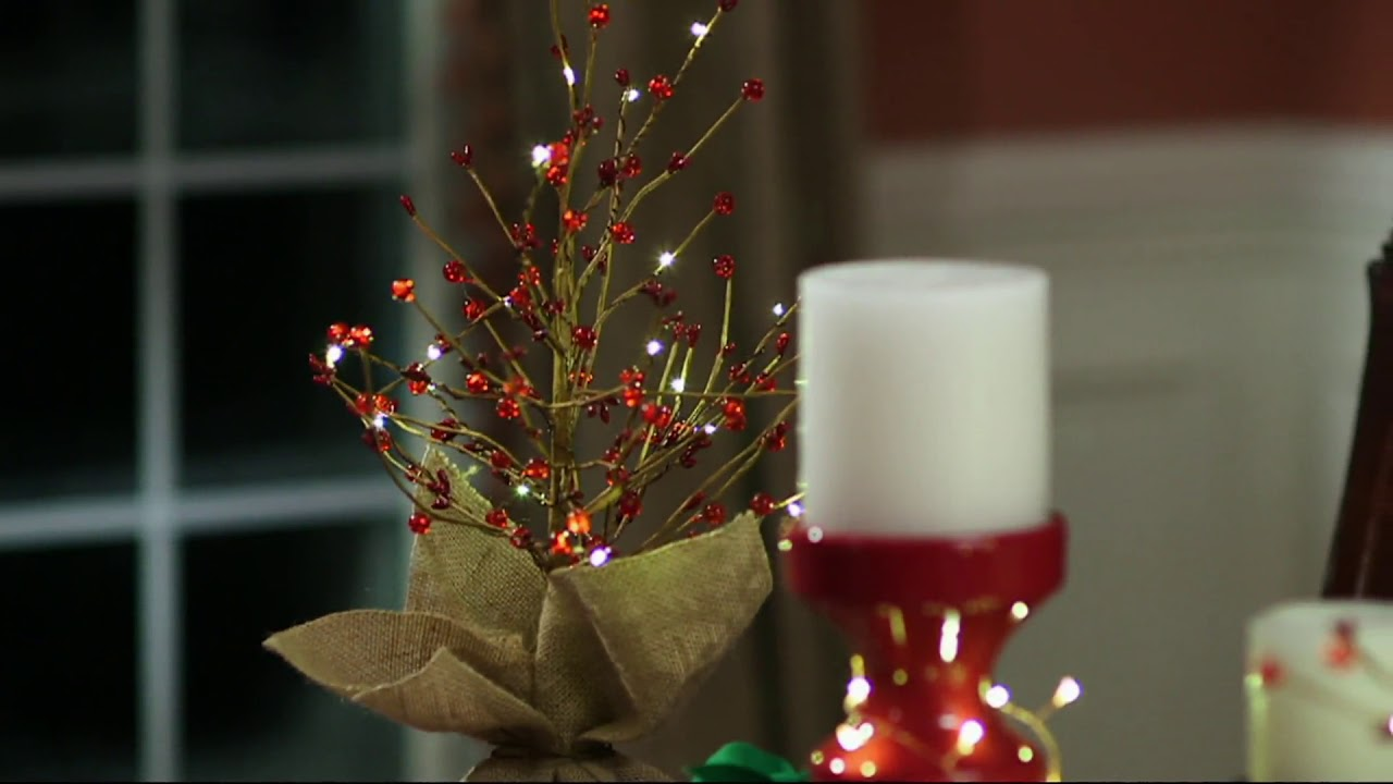 Bethlehem lights wreath battery operated - Bethlehem Lights Lit 18 Or 36 Beaded Berry Branch Tree On Qvc