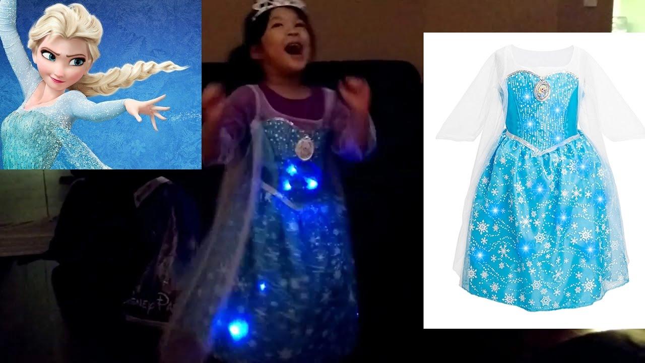 Disney Frozen Elsa Dress Lights Up Spinning Girl Dance