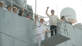 Duterte tours Russian warship: Come to PH more often