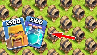 225 Giant Cannon VS All Little Troops With Clone Spell Experiment On Clash Of Clans