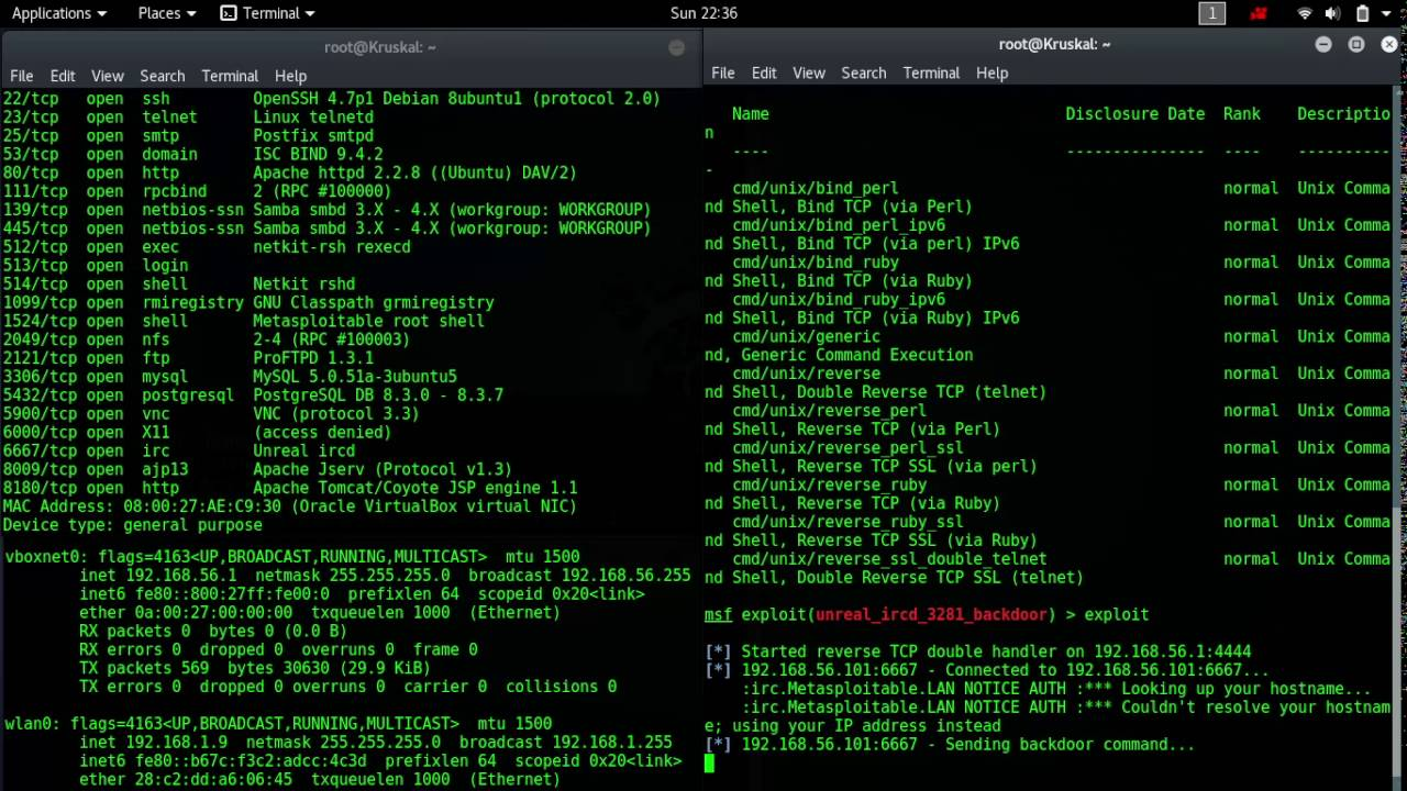 Penetration testing on Metasploitable 2 IRC port (Unreal ircd) using  metasploit