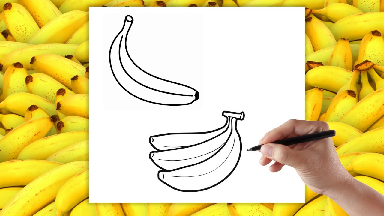 Ananas Rysunek fruits - how to draw a banana - drawing for children stepstep