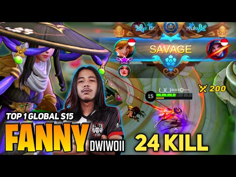 EPIC SAVAGE! 24 KILL! Fanny Insane Tornado Gameplay [Top 1 Global Fanny S15] Dwiwoii - Mobile Legend