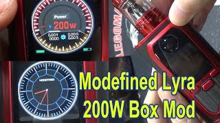 Lyra 200W Box Mod by Modefined | 1.3 inch full color screen | Upgradable firmware setting