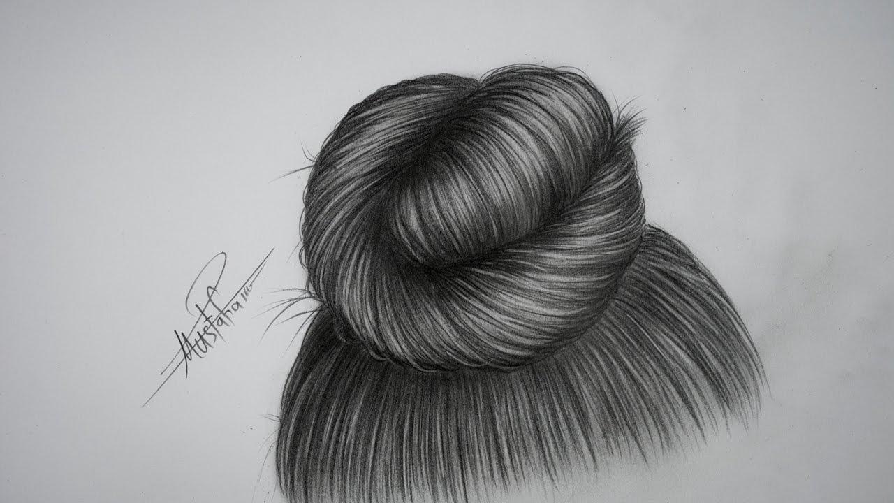 تعليم الرسم بالرصاص تعليم رسم شعر بتسريحة الكعكة خطوة بخطوة Youtube