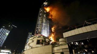 Incendie à Dubaï (Dubai skyscraper fire) - 31 12 2015 / HD