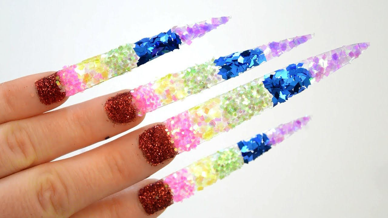 Learn Colors Nail Art Glitter Rainbow Colours Teach To Kids Children Shining Baby
