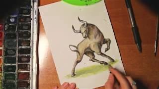 Рисуем  животных.Рисуем акварелью и гелевой ручкой