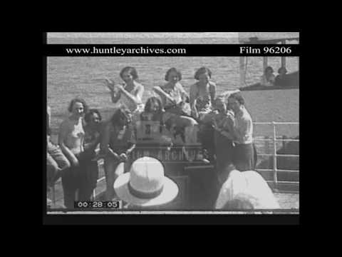 Young Women Enjoying Themsleves on a 1930's Liner.  Archive film 96206
