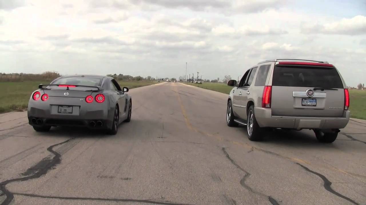 Nissan Gt R Vs Hennesey Cadillac Escalade Youtube