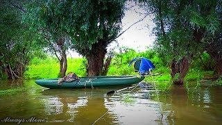 Рыбалка на нижней Волге по высокой воде. Сом на червя. Спиннинговая ловля. Рыбалка с ночёвкой