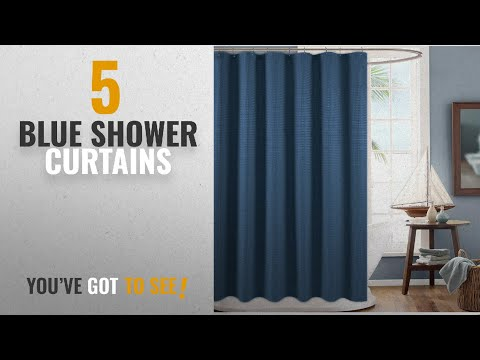 Top 10 Blue Shower Curtains [2018]: Shower Curtain for Bathroom Waterproof Waffle Woven Textured