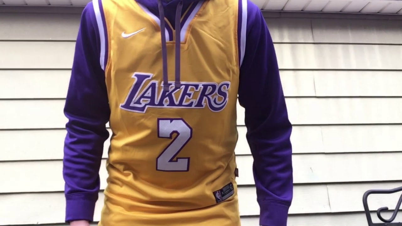 hot sales c7d46 581a9 NEW NIKE LAKERS LONZO BALL JERSEY REVIEW!! FIRST LOOK