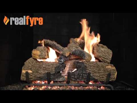 real fyre charred oak gas logs live burn video efireplacestore - Real Fyre Gas Logs