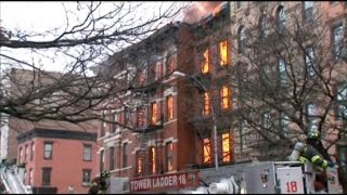 Building Collapses in Lower Manhattan After Blast, Fire