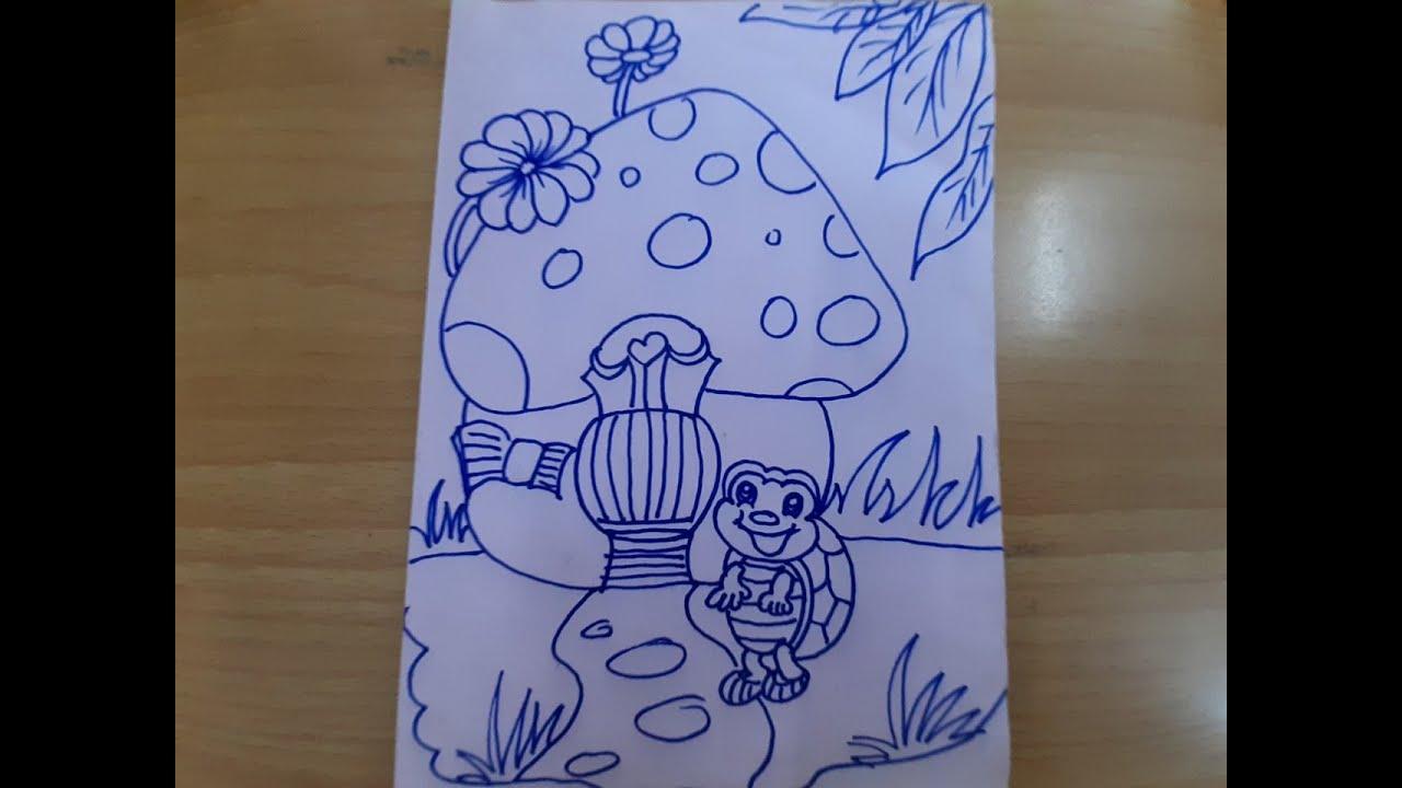 Cách vẽ nhà nấm và con rùa dễ thương How to draw mushrooms and cute turtles1