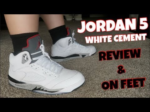 buy online 2c831 ee5a3 AIR JORDAN 5 WHITE CEMENT REVIEW AND ON FEET!