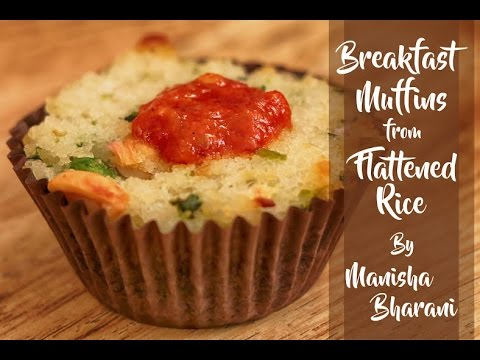 Breakfast Muffins from Flattened Rice  - Easy Poha Muffins - Lunch Box Idea Recipe
