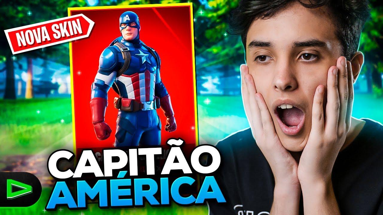 JOGUEI COM A NOVA SKIN DO CAPITÃO AMÉRICA E LIMPEI O MAPA!! FORTNITE