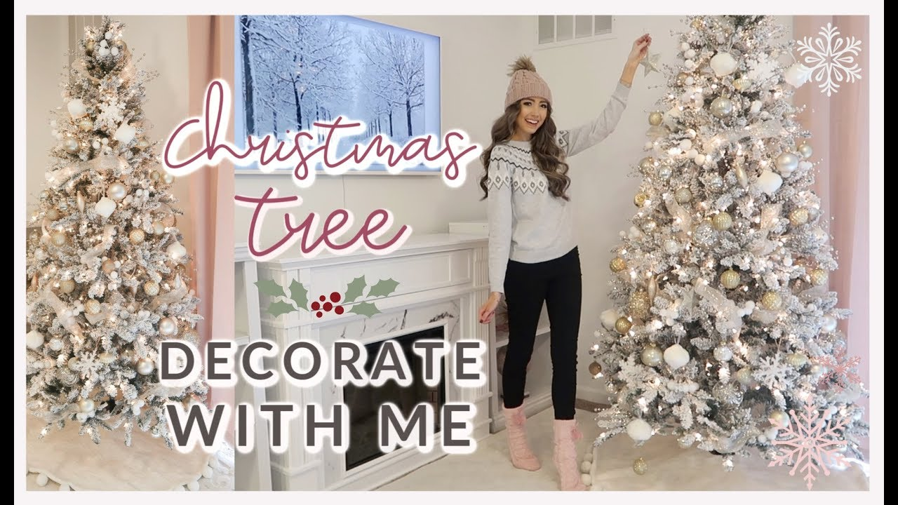 DECORATE MY CHRISTMAS TREE WITH ME 2019 ❄️ HOW TO DECORATE WITH RIBBON | GOLD + WHITE THEME