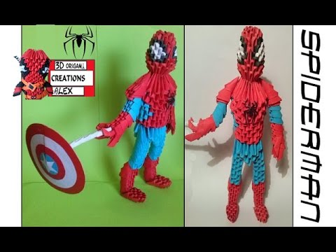 HOW TO MAKE 3D ORIGAMI SPIDERMAN TUTORIAL
