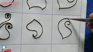 Mehendi for beginners :- Basic mehndi shapes for beginners || mehndi shapes practic #1