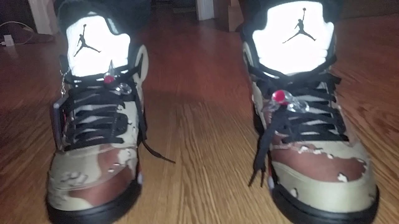 599551c2c606 Air Jordan 5 x Supreme on Feet video - YouTube