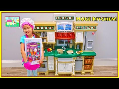 Hailey Pretend Play with Deluxe Kitchen Set & Gets Tummy Ache | Kids Videos