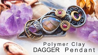Polymer clay DAGGER pendant with gemstones   Making Process