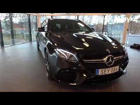[4k] Obsidian Black Mercedes-AMG E63S 4MATIC+ Estate AMG Performance Exhaust FOR SALE at Veho Bil