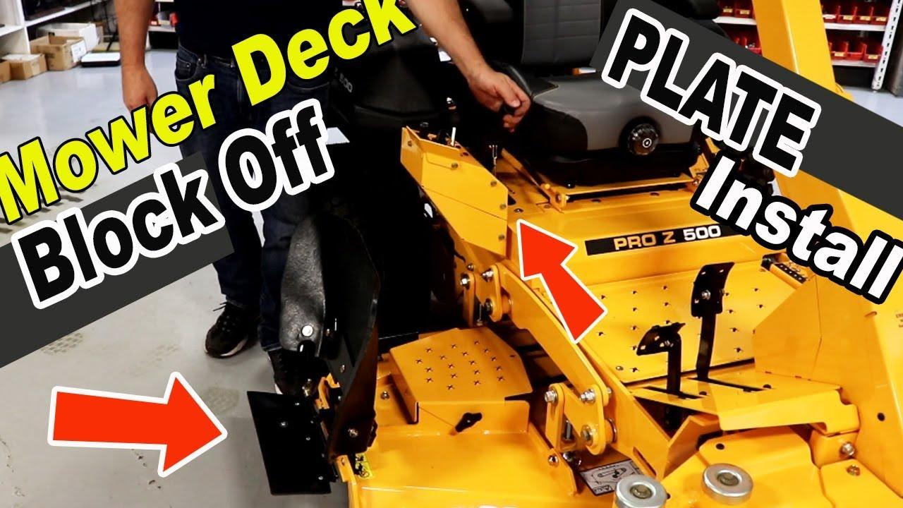 Mower deck discharge commercial chute  blocker OH SHUTE
