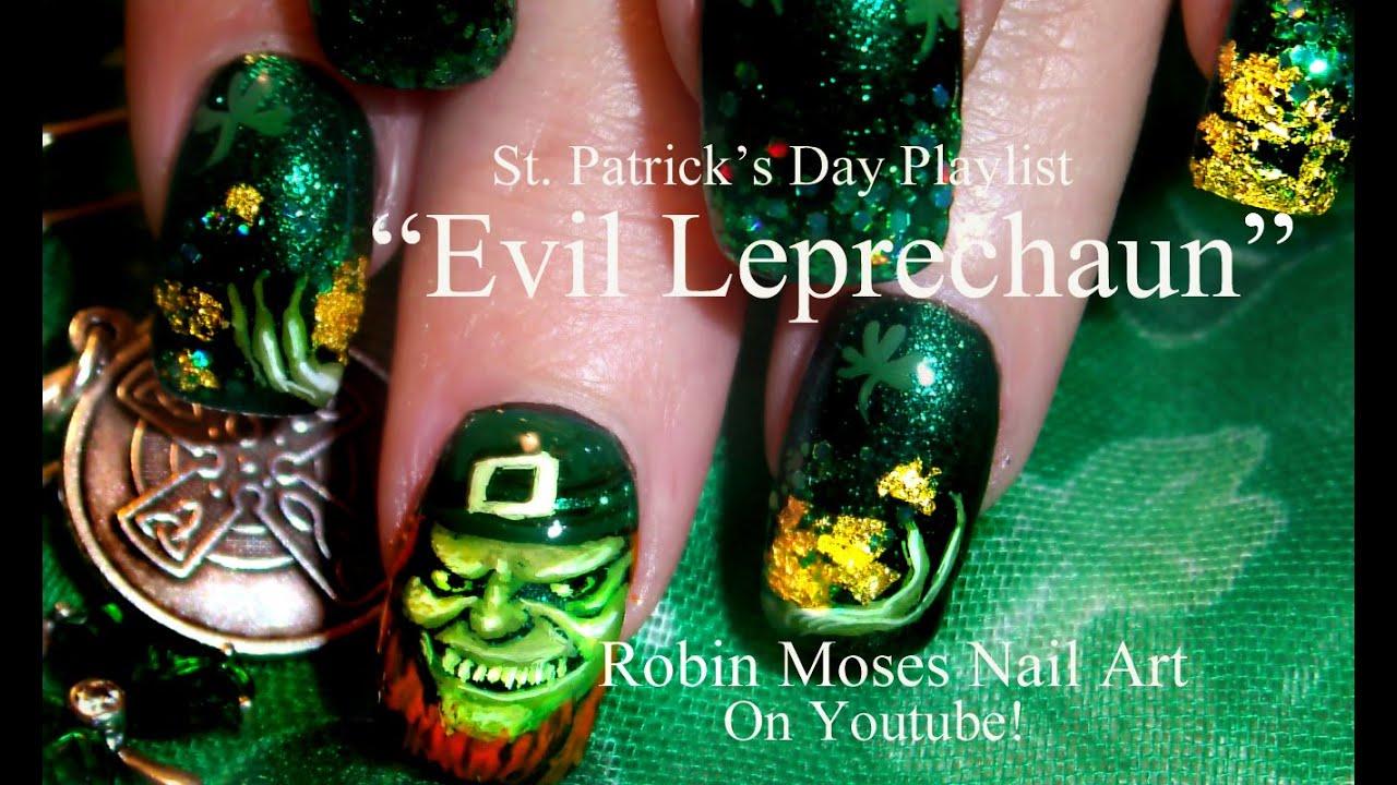 St. Patricks Day Nails | Evil Leprechaun Nail Art Design ...