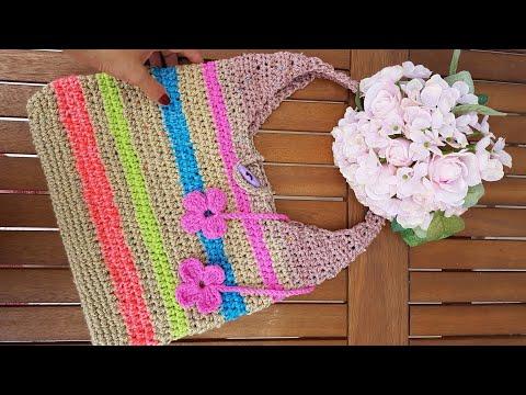 7ee9c9740dc7d Kolay Örgü Çanta /Plaj Çantası / Crochet Bag - YouTube
