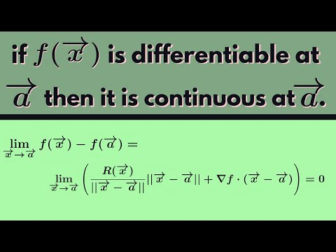 Multivariable Calculus | Differentiable implies continuous.
