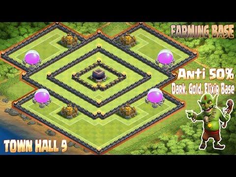 Th9 best farming base 2016 town hall 9 anti 50 dark elixir gold base